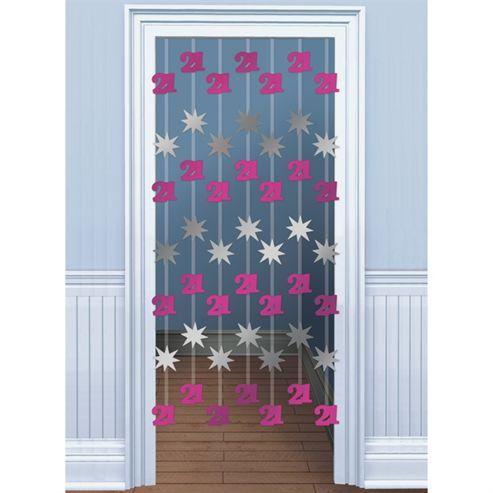 Amscan 21st Birthday Door Danglers Pink/Silver