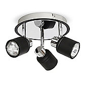Benton Three Way Round Ceiling Spotlight in Black & Chrome