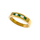 QP Jewellers White Topaz & Emerald Princess Prestige Ring in 14K Rose Gold