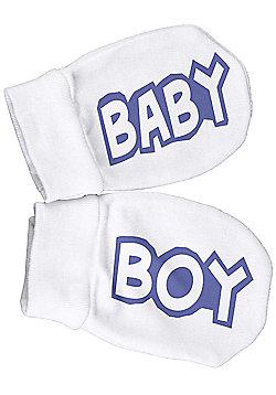 Spoilt Rotten - Baby Boy Filled 100% Organic Cotton Scratch Mittens