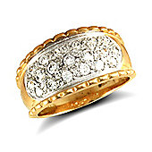 Jewelco London 9ct Solid Gold CZ set rope edged Bombay Ring