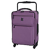 IT Luggage World's Lightest 4-Wheel Purple Check Small Suitcase
