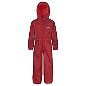 Trespass Button All In One Waterproof Rain Suit - Red
