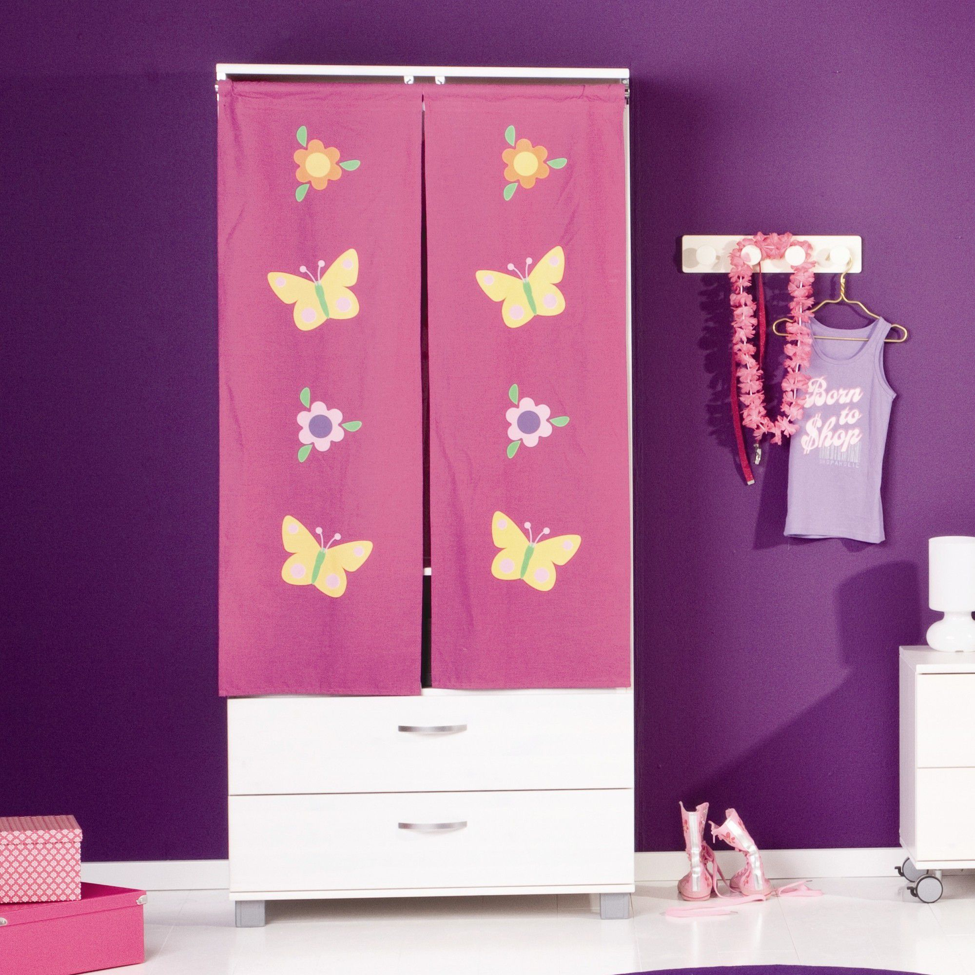 Thuka Trendy Two Curtain Two Drawer Wardrobe - Flowers - White at Tesco Direct