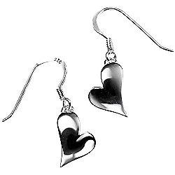 Angled Silver Heart Earrings