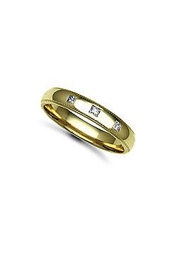 9ct Yellow Gold 4mm Court Mill-Grain Diamond set 15pts Trilogy Wedding / Commitment Ring