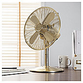"Tesco DF1215G 12"" Metal Desk Fan Gold"