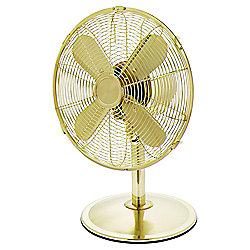 "Tesco 12"" Metal Desk Fan, 3 Speed - Gold"