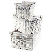 Tesco White Wicker Grey Striped  Lined Baskets With Wooden Handles