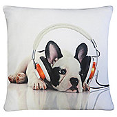 Dog in Ear Phones Cushion