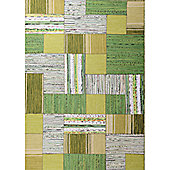 InRUGS Patch Green Woven Rug - 200cm x 140cm (6 ft 6.5 in x 4 ft 7 in)