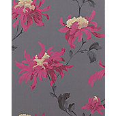 Graham & Brown Julien MacDonald Fabulous Wallpaper - Soft Grey / Fuschia