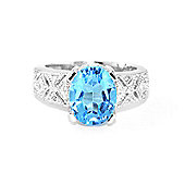 QP Jewellers Diamond & Blue Topaz Renaissance Ring in 14K White Gold