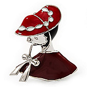 'Lady In The Hat' Red Enamel Brooch In Rhodium Plated Metal