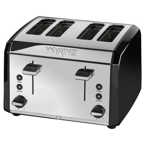 Waring WT400BKU 4 Slice Toaster - Black & Stainless Steel