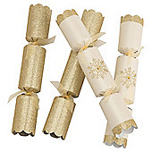 Tesco Luxury Gold Glitter & Snowflake Christmas Crackers, 6 Pack