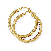 Jewelco London 9ct Yellow Gold - Classic Twisted Hoop Earrings -