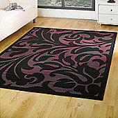 Warwick Damask Rugs in Black Purple 160x220cm