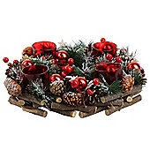 Snowy Pine Cone, Artificial Berry & Red Glass Christmas Tealight Candle Holder Wreath