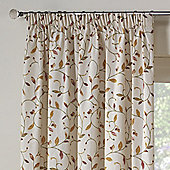 Rectella Leaf Trail Autumn Tapestry Look Lined Pencil Pleat Curtains - 229x137cm