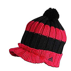 Adidas Childrens Peaked Bobble Hat Beanie - Pink / Black