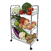 Basket - Wheeled 3 Tier Kitchen Storage Trolley - Silver