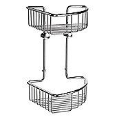 Smedbo Sideline Wall Mounted Double Level Corner Basket in Polished Chrome