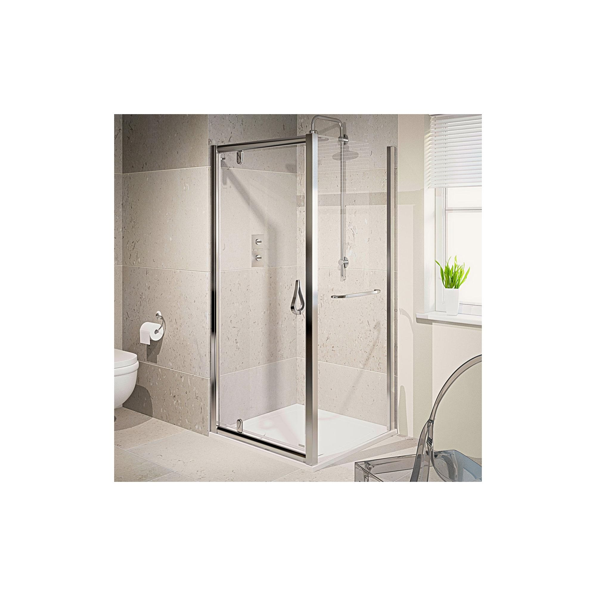 Aqualux AQUA6 Pivot Shower Door, 800mm Wide, Polished Silver Frame, 6mm Glass at Tesco Direct