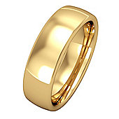 Jewelco London 18ct Yellow Gold - 6mm Premium Bombe Court-Shaped Band Commitment / Wedding Ring - Size Z 1/2