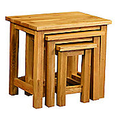 Kelburn Furniture Essentials 3 Piece Nest of Table Set in Light Oak Stain and Satin Lacquer