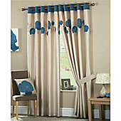 Curtina Danielle Eyelet Lined Curtains 46x54 inches (117x137cm) - Teal