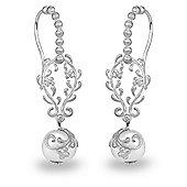 Blossom Copenhagen Rhodium Plated Sterling Silver Foliage Freshwater Pearl Dangle Earrings