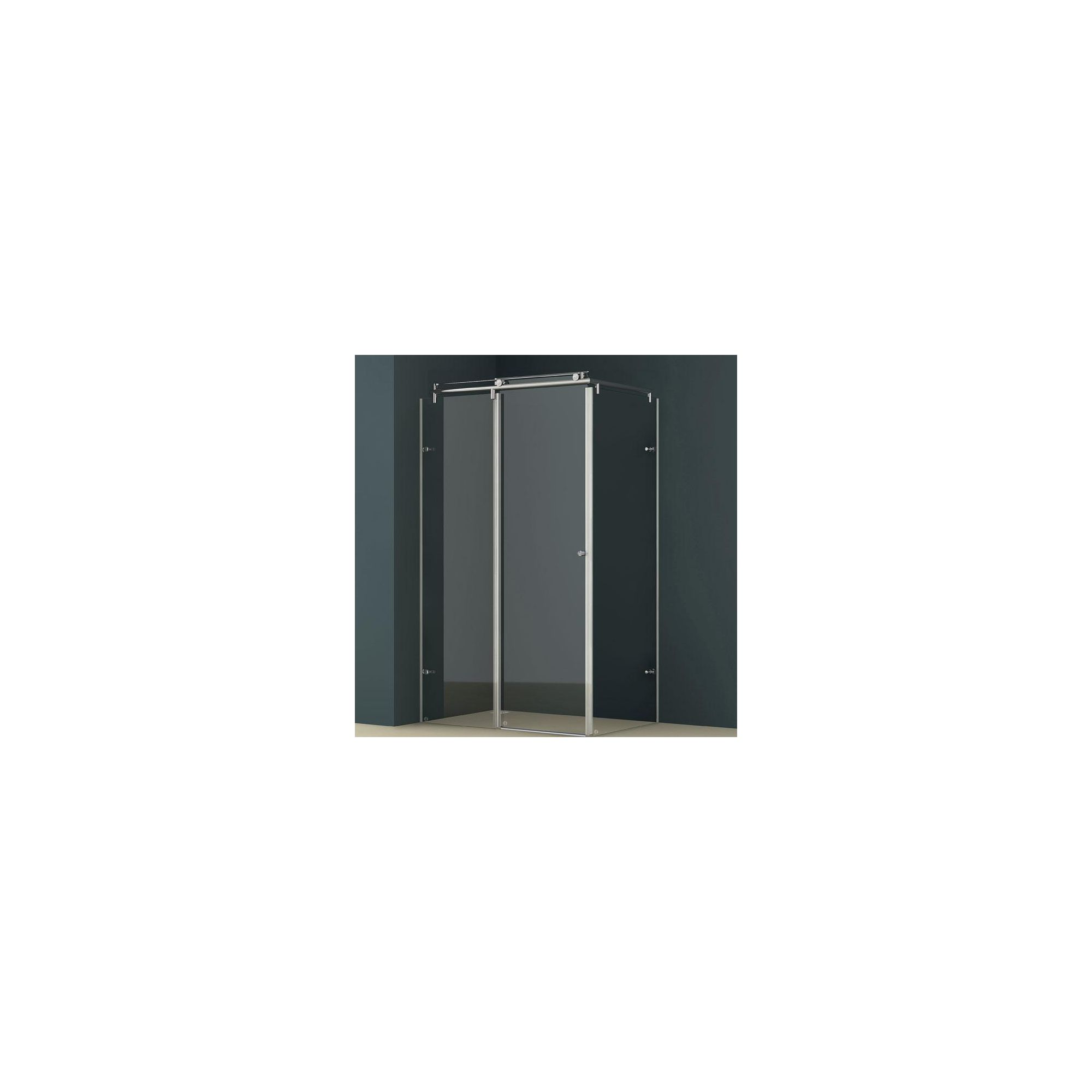 Vessini K Series L-Shape Wet Room Shower Door with Side Panel, 1200mm x 800mm, excluding Tray, 10mm Glass at Tesco Direct