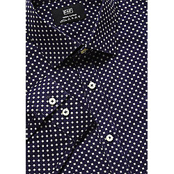 F&F Printed Pure Cotton Easy Iron Slim Fit Shirt 15.5 Navy