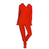 Red Plush Adult Hooded Onesie (Large)