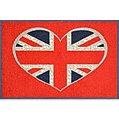 Wash & Dry by Kleen-Tex Union Jack Heart Flat Bordered Rug - 50cmx75cm