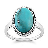 Gemondo Sterling Silver 4.00ct Turquoise Cabochon Oval Bezel Set Single Stone Ring