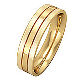 9ct Yellow Gold - 5mm Flat-Court Striped Satin Finished Edges Band Commitment / Wedding Ring