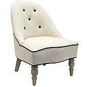 Retro Fabric Arch Back Chair with Wood Legs - Oatmeal / Black