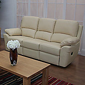 Furniture Link Monzano Three Seat Reclining Sofa in Ivory - Chestnut