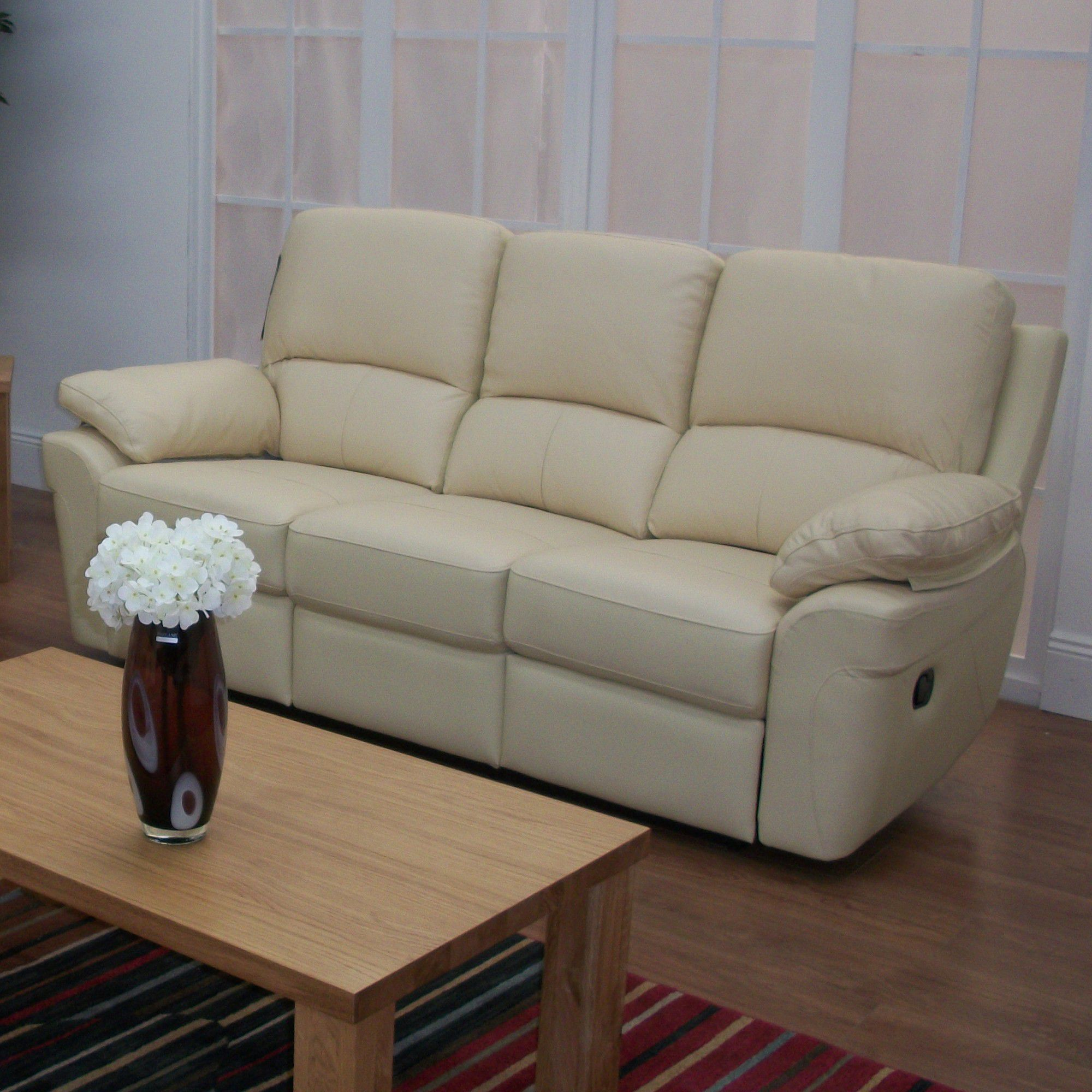 Furniture Link Monzano Three Seat Reclining Sofa in Ivory - Chestnut at Tesco Direct