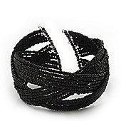 Boho Black Glass Bead Plaited Flex Cuff Bracelet - Adjustable