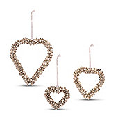 Silver Cluster Bell Heart Shaped Hanging Decorations - Set of Three