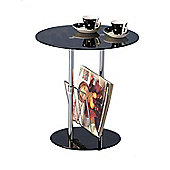Black Glass and Chrome Magazine Table