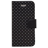 Tortoise™ Textured Plastic Folio Case, with built in stand, iPhone 5/5S. Mini Polka Dort design, Charcoal with Grey spots.