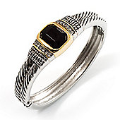 Two Tone Vintage Rope Style Hinged Bangle Bracelet