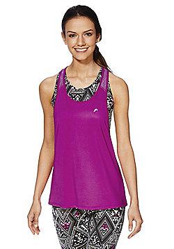 F&F Active Aztec Print Crop Top and Vest Set - Purple