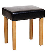 Home Essence Faux Leather Stool - Black - Light Wood