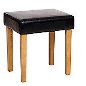 Home Essence Faux Leather Stool - Black - Light Wood