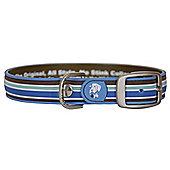 Dublin Dog All Style Classic Stripe Tahitian Sky No Stink Dog Collar - Small (28-33cm W)